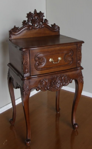 Louis One Drawer Mahogany Bedside Table
